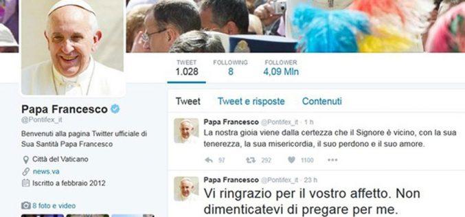 Папата на Твитер: Бог знае подобро од нас што ни е потребно